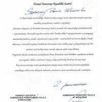 List od Komendanta Powiatowej Policji w Mikołowie - z okazji Święta Narodowego Austrii